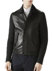 Gucci Wool Sleeved Leather Jacket Black