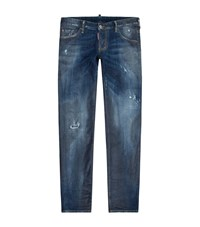 Dsquared2 Slim Waxed Distressed Jeans Male Blue