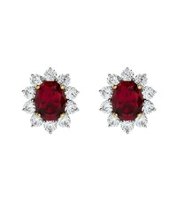 Carat 2Ct Fancy Oval Ruby Stud Earrings Female