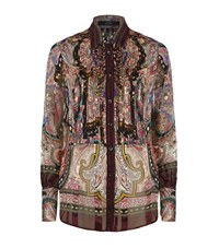 Etro Printed Pintuck Silk Shirt Female
