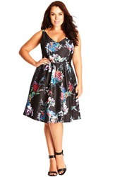 City Chic Floral Print Satin Fit And Flare Dress Plus Size Black