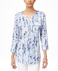 Jm Collection Linen Printed Shirt Only At Macy's Blue White