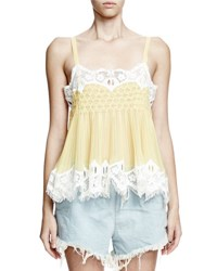 Chloe Pleated Georgette Cami Top Yellow