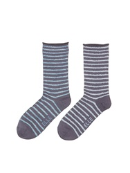 Elle Grey Blu 2Pp Bamboo Feather Stripe Blue Black