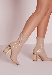 Missguided Patent Ankle Boots Perspex Heel Nude Cream