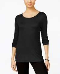 Cable And Gauge Long Sleeve Knit Top Black