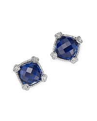 Judith Ripka Sterling Silver Cushion Stud Earrings With White Sapphire And Blue Corundum Blue White