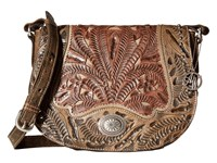 American West Rosewood Saddle Flap Crossbody Distressed Charcoal Brown Dusty Rose Sand Cross Body Handbags