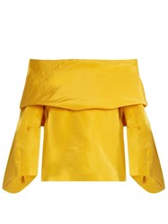 Rosie Assoulin Off The Shoulder Silk Faille Top Yellow