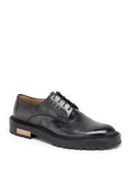 Fendi Seleria Leather Derby Shoes Pewter