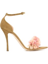 Rupert Sanderson Floral Applique Sandals Brown
