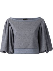 Dresscamp Cropped Puff Sleeve Top Grey