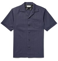 Marvy Jamoke Camp Collar Pinstriped Cotton Shirt Blue