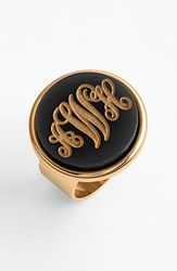 Women's Moon And Lola 'Vineyard' Personalized Monogram Ring Black