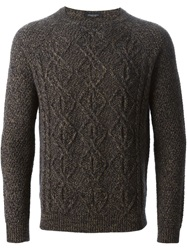 Roberto Collina Cable Knit Marled Sweater Brown