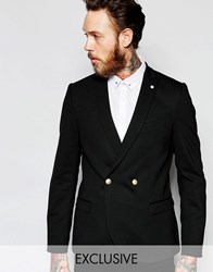Noose And Monkey Double Breasted Jersey Blazer With Stretch And Gold Buttons In Super Skinny Fit Black