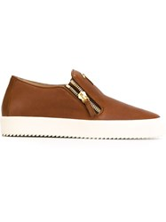 Giuseppe Zanotti Design Zip Detail Slip On Sneakers Brown