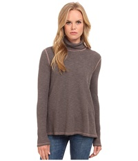 Three Dots Long Sleeve Relaxed Turtleneck Mauve Wood Women's Long Sleeve Pullover Brown