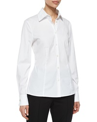 Escada Cotton Blouse W Crystal Cuffs