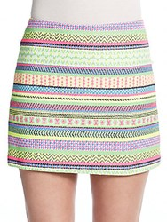 Milly Patterned Tweed Mini Skirt Multi