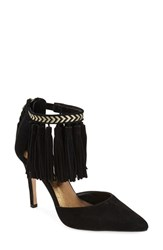 Women's Cynthia Vincent 'Wanted' Ankle Fringe Pump 3 3 4' Heel