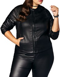 Mblm By Tess Holliday Plus Long Sleeve Coated Denim Jacket Black