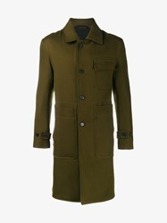 Ann Demeulemeester Reversible Wool Coat Khaki Black Olive Denim