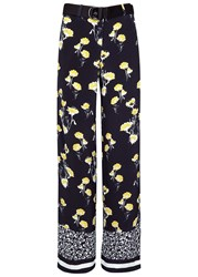 Mother Of Pearl Ruthie Printed Wide Leg Silk Trousers Navy