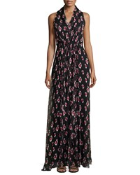 Carolina Herrera Sleeveless Halter Neck Printed Gown Black White Pink