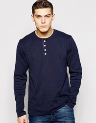 Solid Long Sleeve Grandad Top Navy