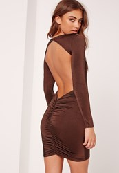Missguided Open Back Gathered Bodycon Dress Brown Rust