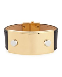 Balenciaga Studded Metal And Leather Cuff Bracelet Black Noir