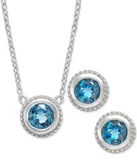 Macy's London Blue Topaz Pendant Necklace And Earrings Set 2 Ct. T.W. In Sterling Silver