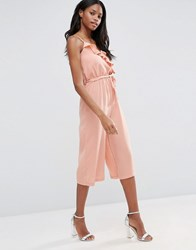 Influence Ruffle Culotte Jumpsuit Rose Pink