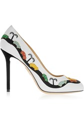 Charlotte Olympia Racy Embroidered Canvas Pumps White