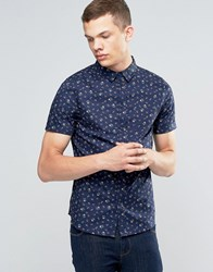 Another Influence Patterned Short Sleeve Shirt Navy
