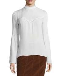 Derek Lam Long Sleeve Silk Blouse W Pintucked Yoke White