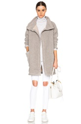 James Perse Limited Raglan Funnel Neck Coat In Gray Neutrals