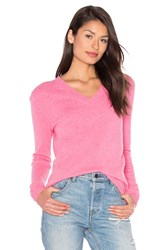 White Warren Essential V Neck Sweater Pink