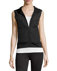 Neiman Marcus Quilted Front Hooded Vest Black