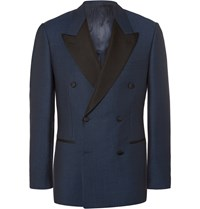 Kingsman Blue Harry Slim Fit Double Breasted Wool Tuxedo Jacket Blue