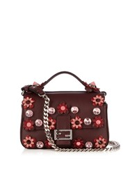 Fendi Double Flowerland Micro Baguette Cross Body Bag Burgundy Multi