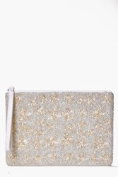Boohoo Ava Star Embellished Beaded Clutch Silver