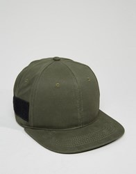 Asos Snapback Cap In Khaki Canvas Khaki Green