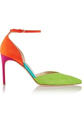 Brian Atwood Lisette Color Block Suede Pumps