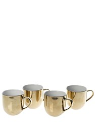 Pols Potten Set 4 Gold Glazed Bone China Cups