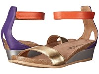 Naot Footwear Pixie Gold Leather Purple Leather Orange Leather Women's Sandals