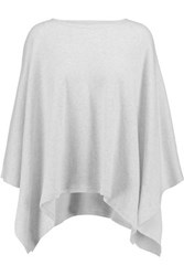 Majestic Cotton And Cashmere Blend Poncho White