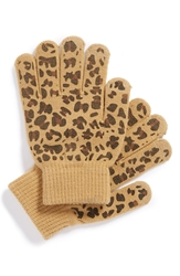 Bp Print Knit Gloves Juniors Leopard