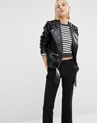 Cheap Monday Punch Leather Look Oversized Biker Jacket Black